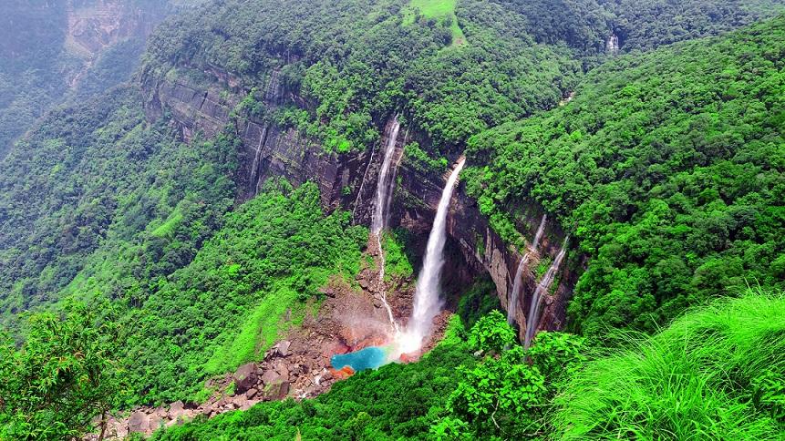 Cherrapunji Tourist Places - Nohkalikai Waterfall
