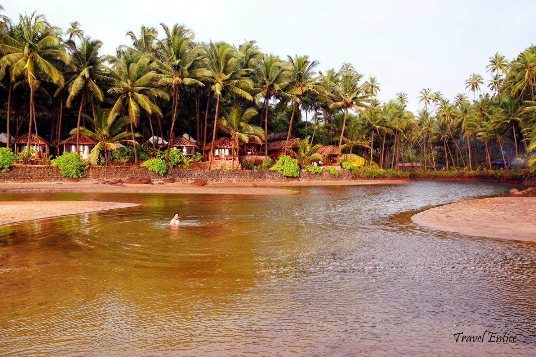 Lagoon at cola beach in Goa