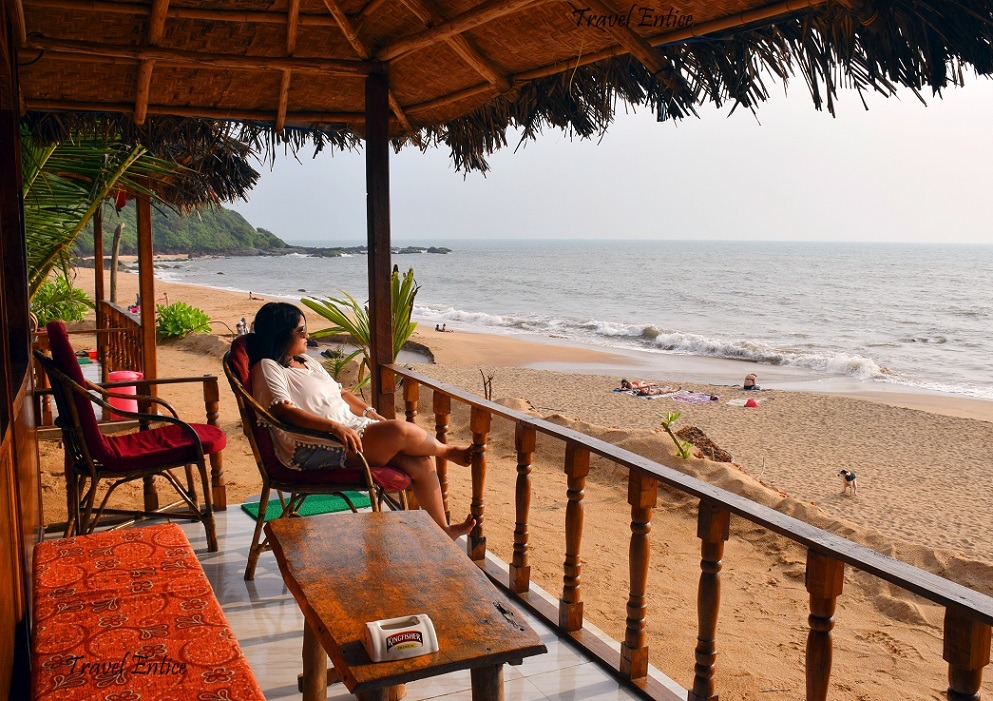 This the beautiful view of Cola Beach in Goa from one of the cottages
