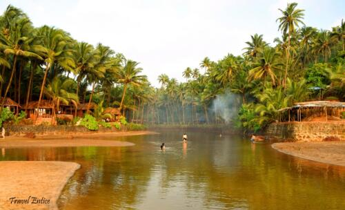 The beautiful back water at Cola beach in Goa
