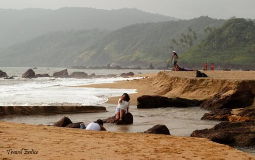 The canal at Cola beach in Goa get fulfiled during High tide and maintains a gap with the sea during low tide