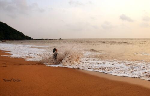You should be careful about taking bath because the sea is not gentle at Cola beach in Goa