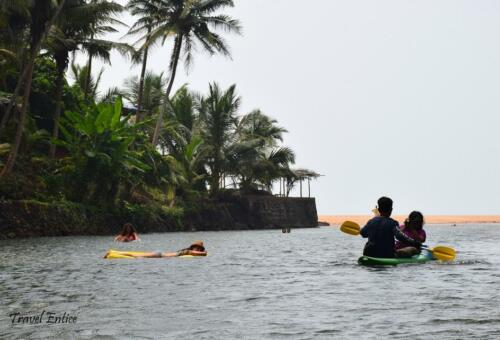 You will enjoy floating or kayaking in Back water of Cola beach in Goa.